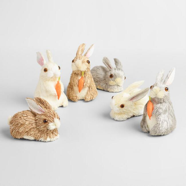 Natural Fiber Mini Bunnies Decor 12 Pack