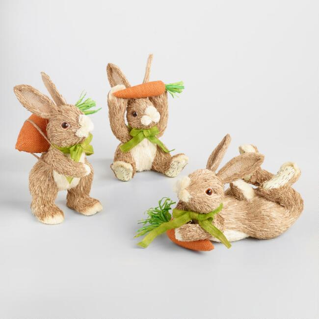 Brown Natural Fiber Bunnies with Carrots Decor Set of 3
