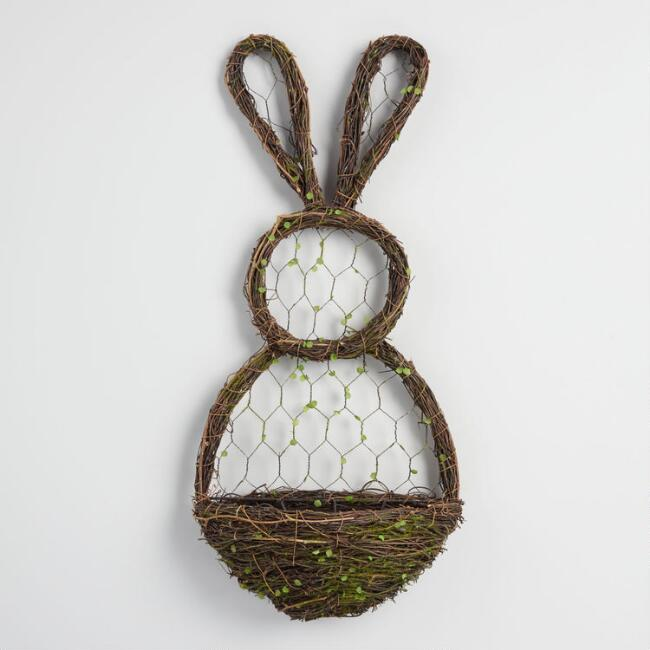 Vine and Wire Bunny Wall Decor