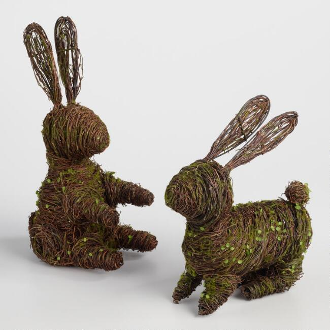 Mossy Vine Bunnies Decor Set of 2