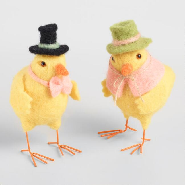 Yellow Felted Wool Mr and Mrs Chicks Decor Set of 2