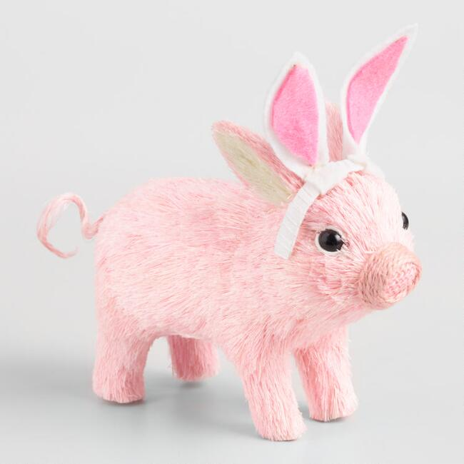 Pink Natural Fiber Pig with Bunny Ears Decor