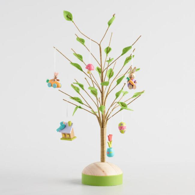 Wood Mini Easter Ornaments and Tree Collection