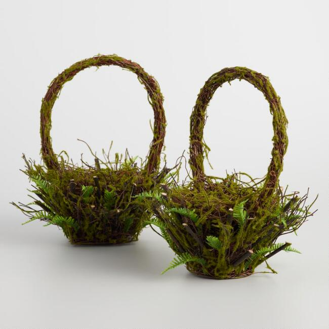 Round & Square Mossy Fern Baskets Set of 2