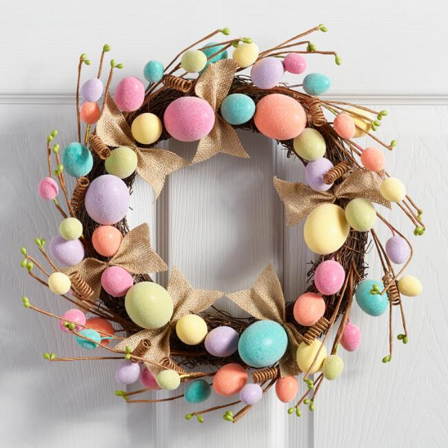 Bright Sugared Egg Wreath Decor