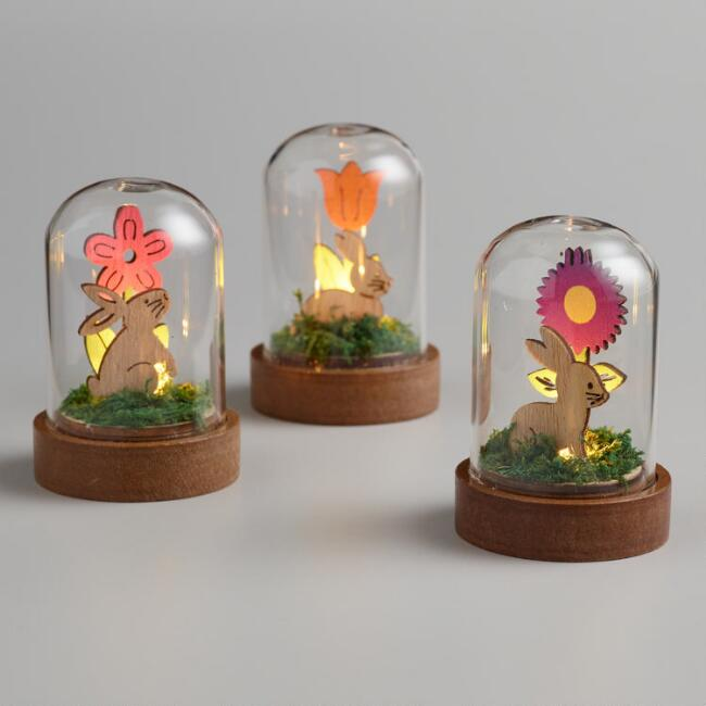 LED Light Up Glass Cloches with Easter Scenes Set of 3