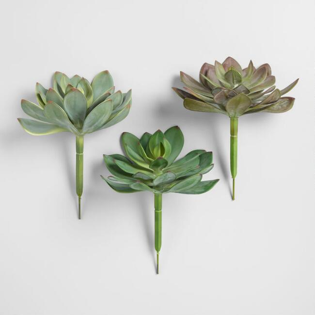 Large Faux Succulent Picks Set of 3