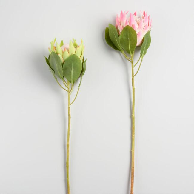 Large Faux King Protea Stems Set of 2