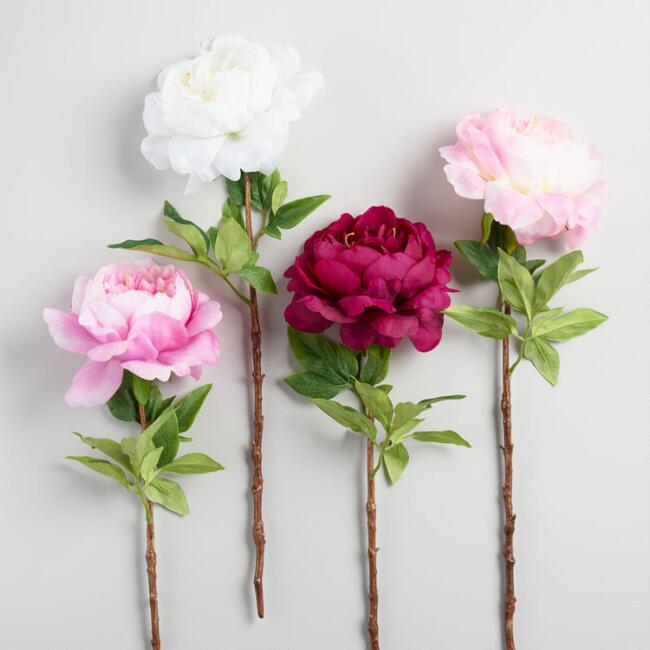 Large Faux Peony Stems Set of 4