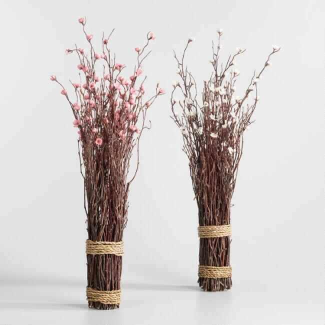Faux Flowering Twig Bundles Set of 2