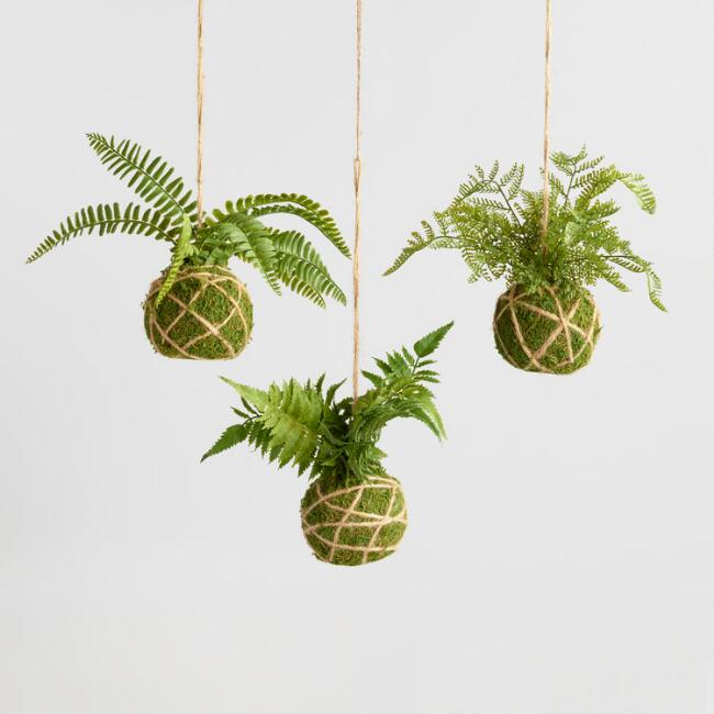 Faux Fern Kokedama Hanging Decor Set of 3