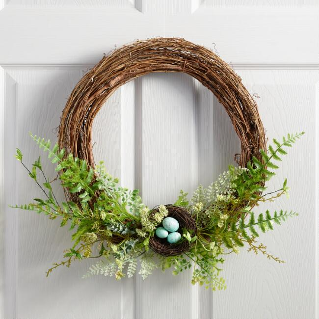 Vine and Faux Fern Nest Wreath Decor