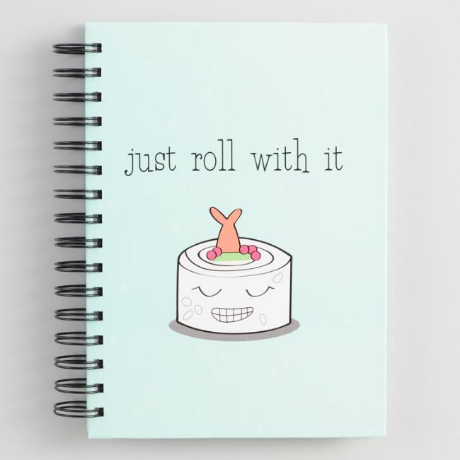 Just Roll With It Sushi Hardcover Journal