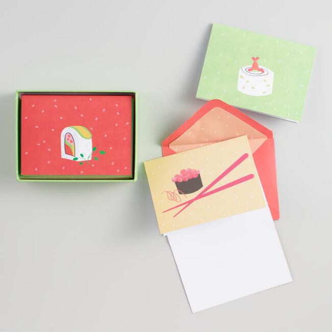 Gourmet Sushi Kraft Notecards Set of 12