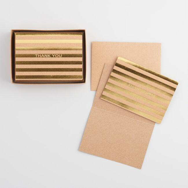 Gold Stripe Kraft Thank You Notecards Set of 8
