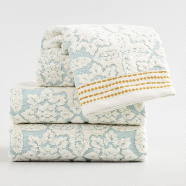 Aqua Seaside Tile Sculpted Towel Collection