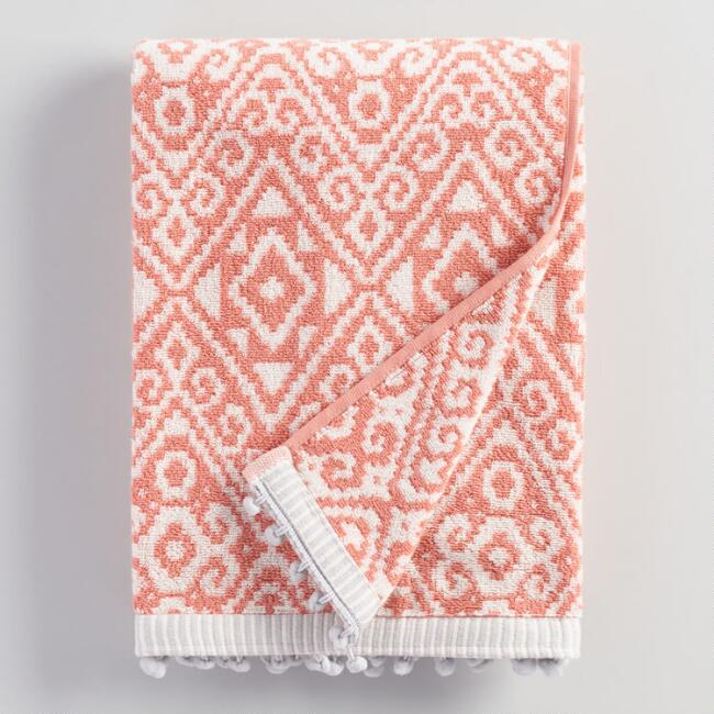 Ivory and Terracotta Alayna Jacquard Bath Towel