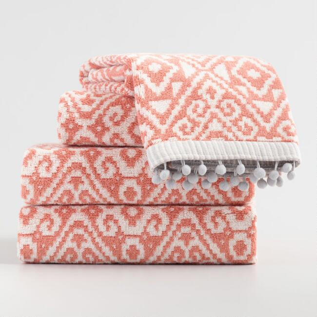Ivory and Terracotta Alayna Jacquard Towel Collection