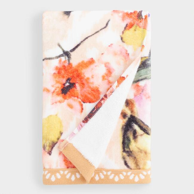 Coral Flower and Bird Camila Printed Hand Towel