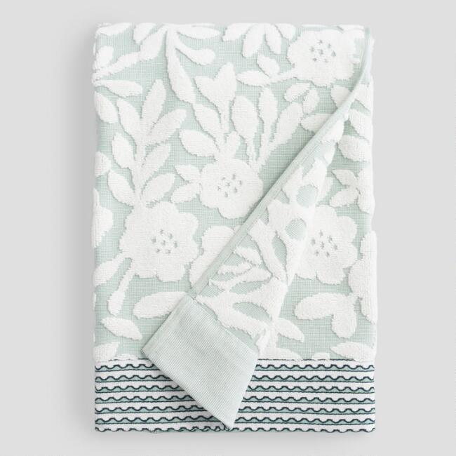 Green Floral Collette Sculpted Bath Towel