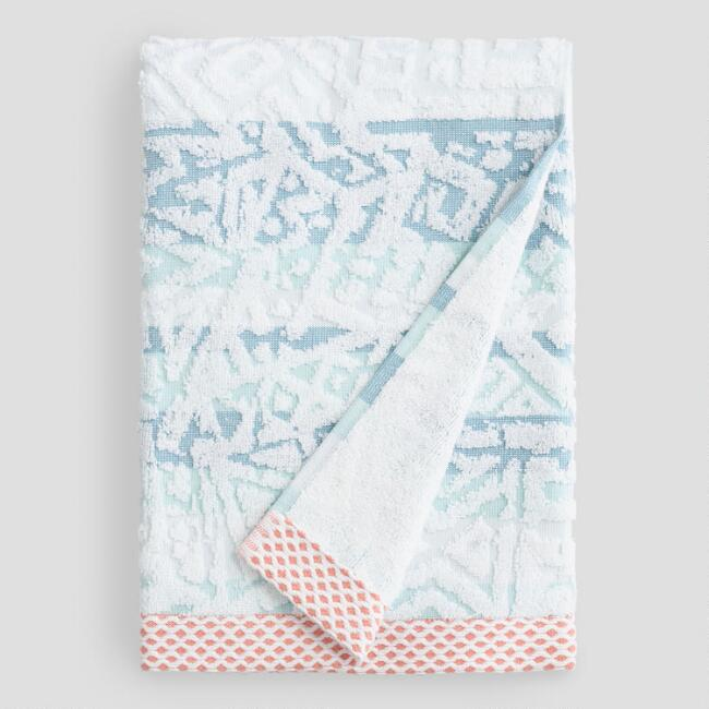 Aqua Stripe Eve Sculpted Bath Towel