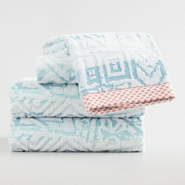 Aqua Stripe Eve Sculpted Towel Collection
