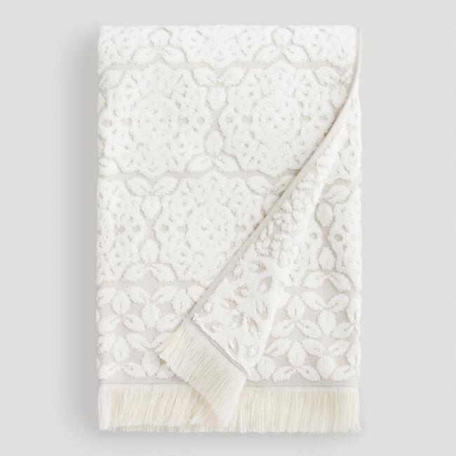 Gray and Ivory Medallion Rosalind Sculpted Bath Towel