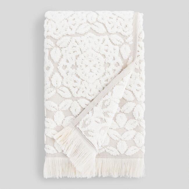Gray and Ivory Medallion Rosalind Sculpted Hand Towel