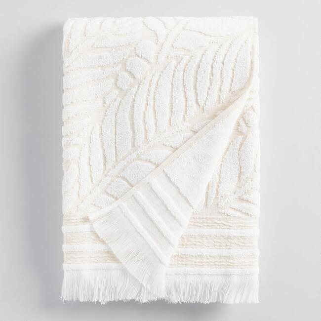 White and Taupe Bryanne Linen Bath Towel