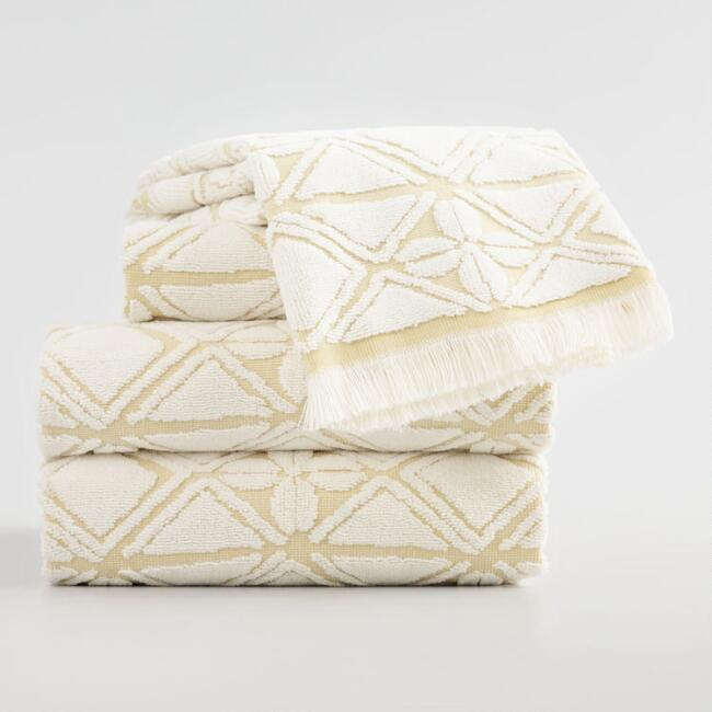Ivory and Golden Green Geo Floral Iberia Towel Collection
