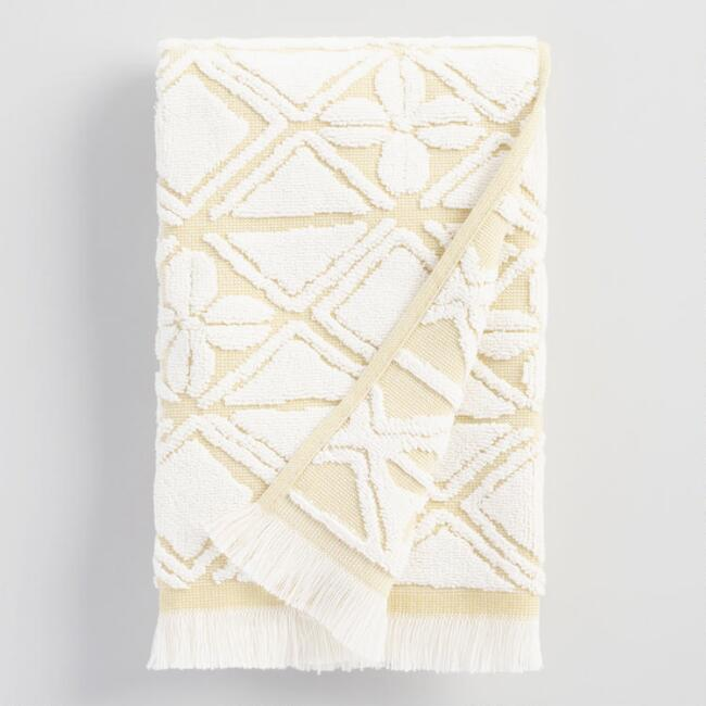 Ivory and Golden Green Geo Floral Iberia Hand Towel
