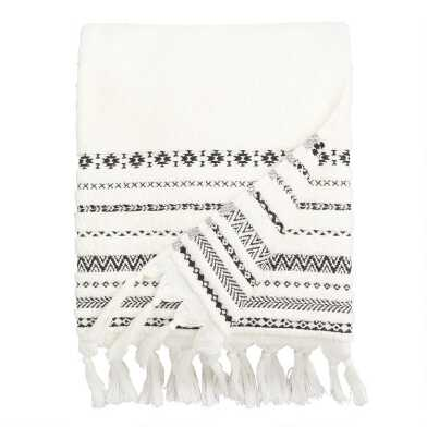 Ivory And Black Geo Striped Zohra Bath Towel