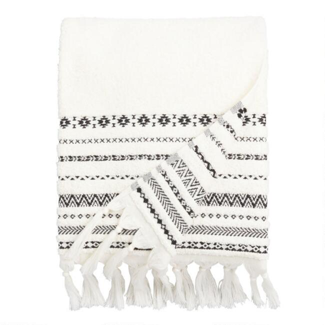 Bath Towel Sets Black And White: Ivory And Black Tribal Striped Zohra Bath Towel