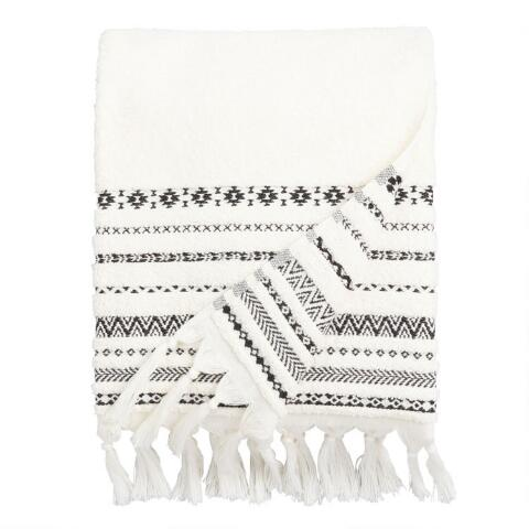 Ivory and Black Tribal Striped Zohra Bath Towel | World Market
