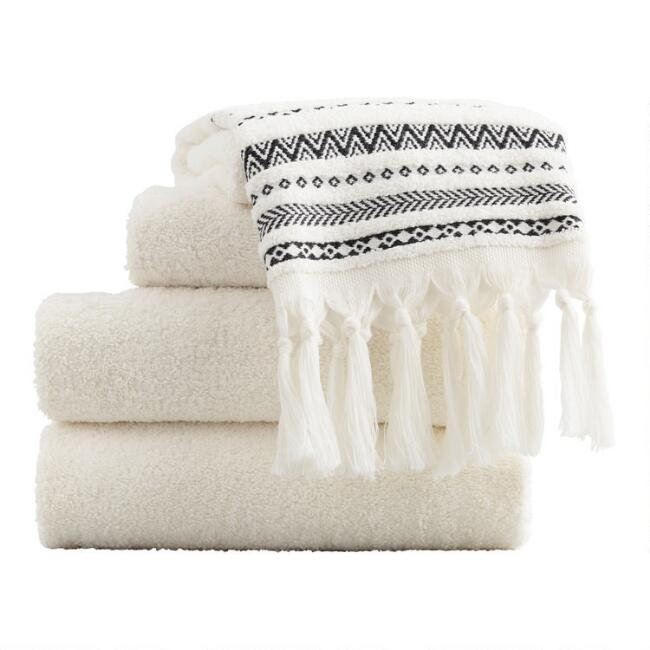 Ivory and Black Tribal Striped Zohra Towel Collection