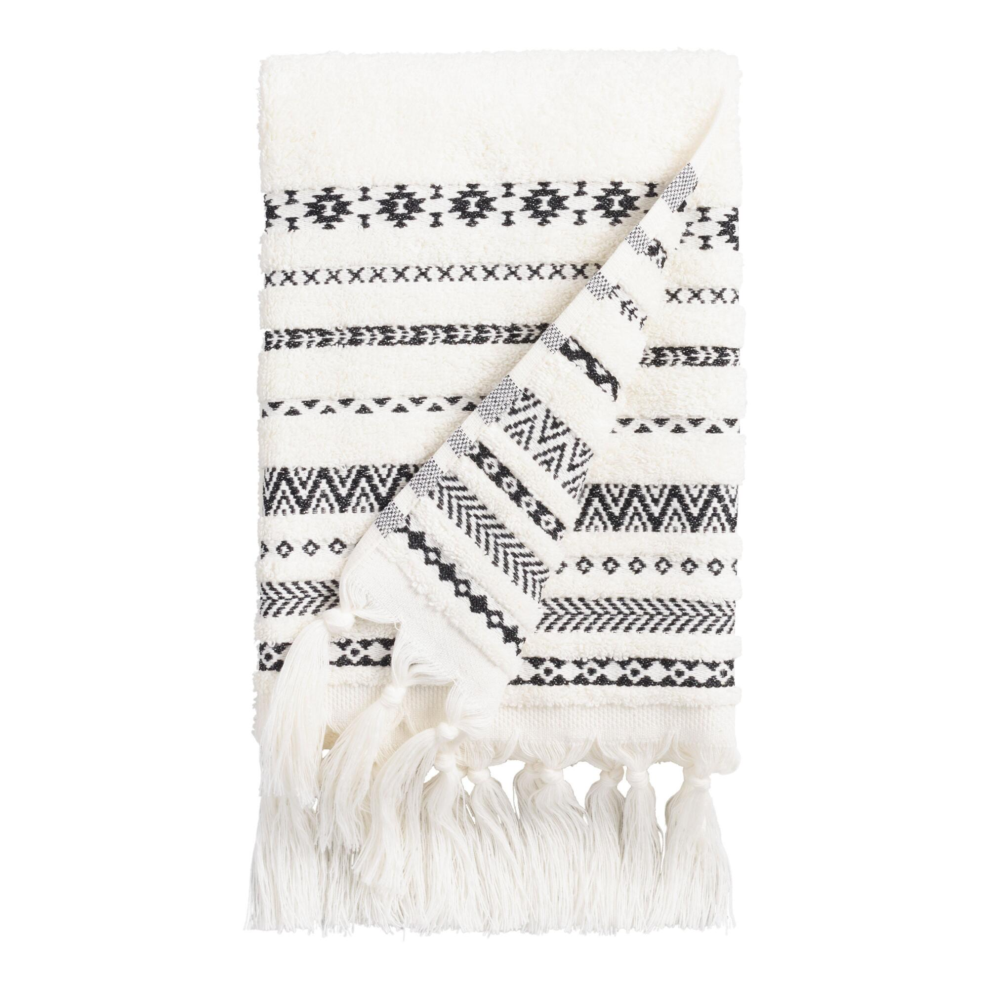 Ivory and Black Tribal Striped Zohra Hand Towel | World Market