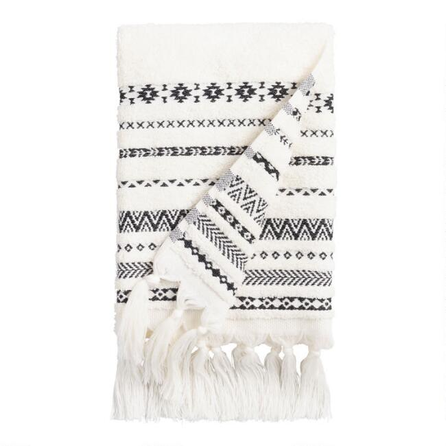 Ivory And Black Geo Striped Zohra Hand Towel