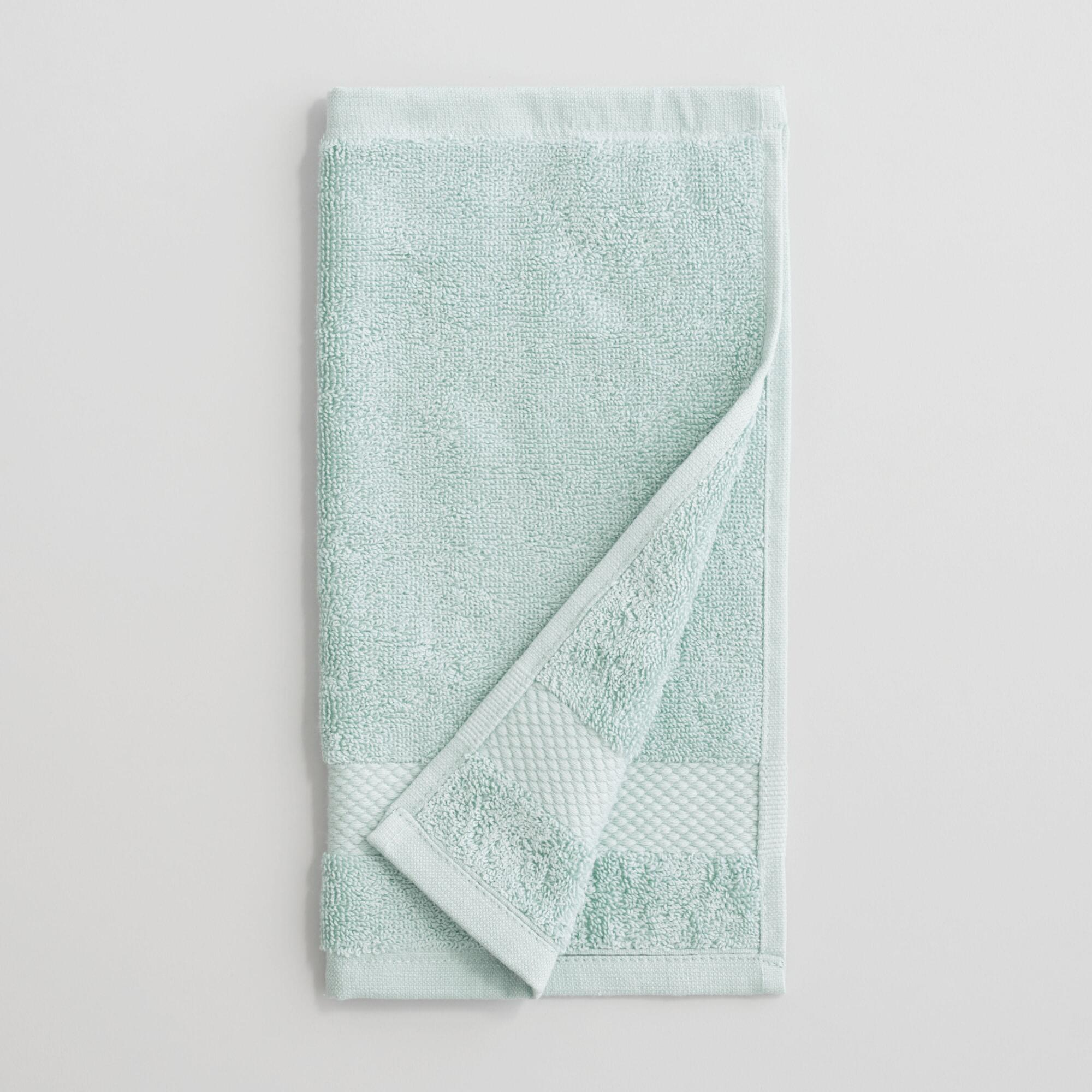 Sea Glass Aqua Washcloths Set of 2 - Cotton  by World Market