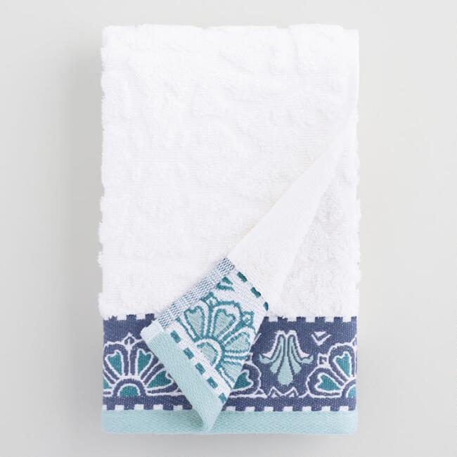 White and Blue Medallion Noelle Sculpted Hand Towel