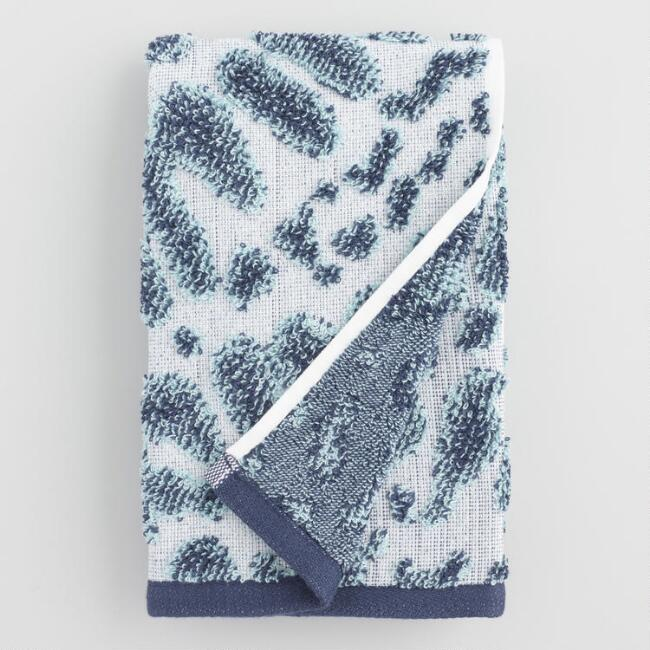 Indigo and Sea Glass Aqua Valeria Sculpted Hand Towel
