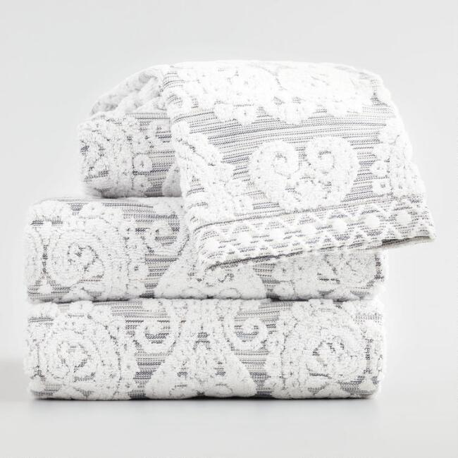White and Gray Bhuti Prisha Printed Towel Collection