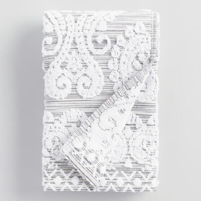 White and Gray Bhuti Prisha Printed Hand Towel