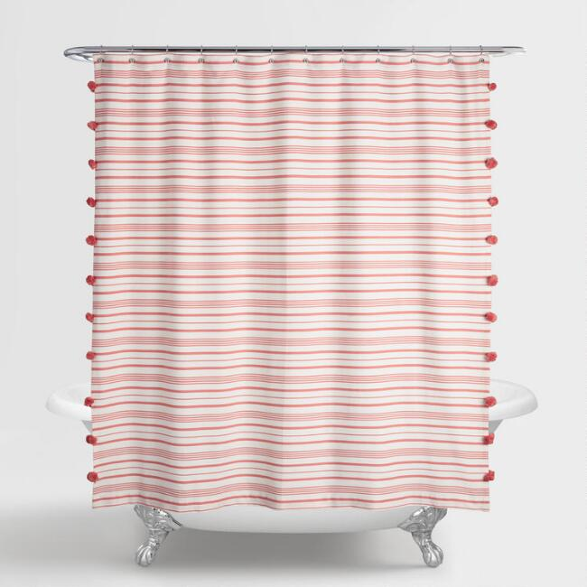 Terracotta Striped Sara Shower Curtain