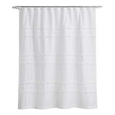White Tiered Tassel Renata Shower Curtain
