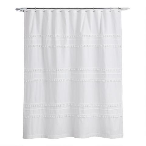 White Tiered Tassel Renata Shower Curtain Previous V3 V1