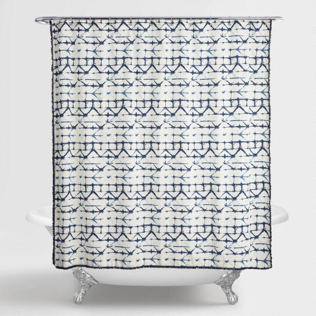 Indigo Blue and Ivory Tie Dye Ines Shower Curtain