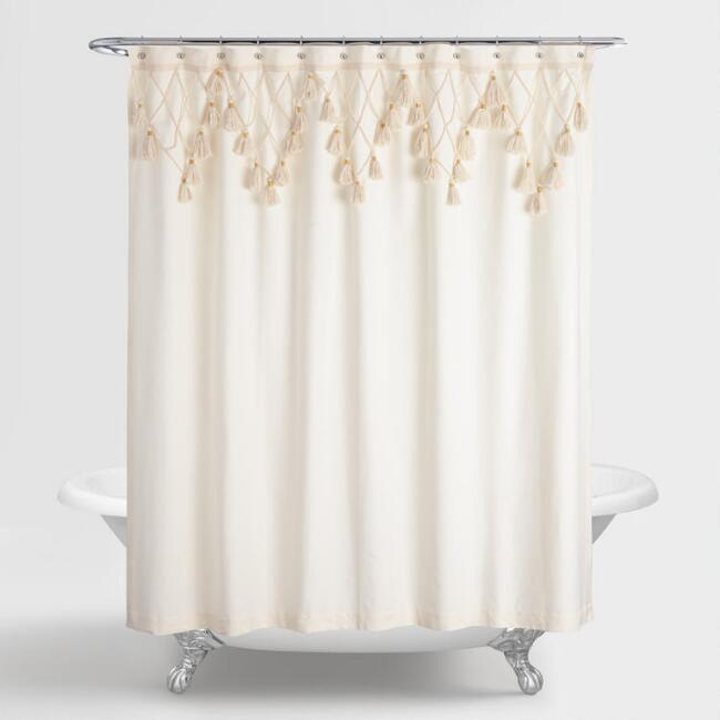 Ivory and Green Net Hadiya Shower Curtain