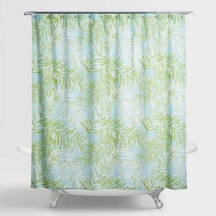 Style Lounge Shower Curtain. Aqua and Green Palm Leaves Bali Shower Curtain Paisley Venice  World Market