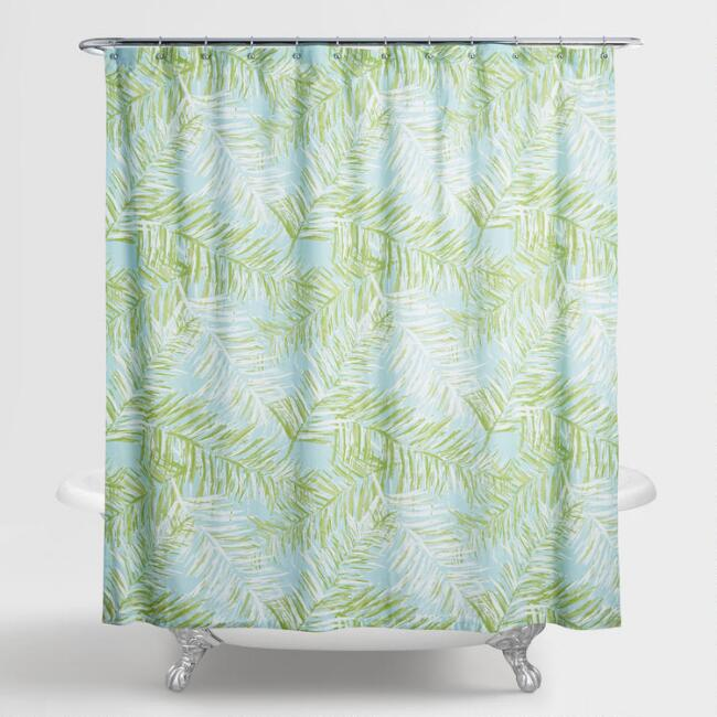Aqua And Green Palm Leaves Bali Shower Curtain