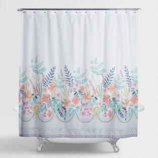 Scrolling Botanical Garden Print Shower Curtain